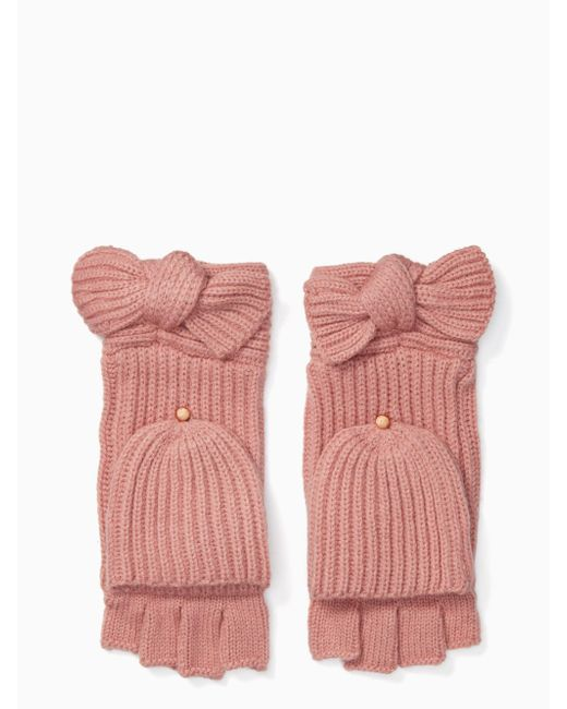 Kate Spade - Pink Solid Bow Pop Top Mittens - Lyst