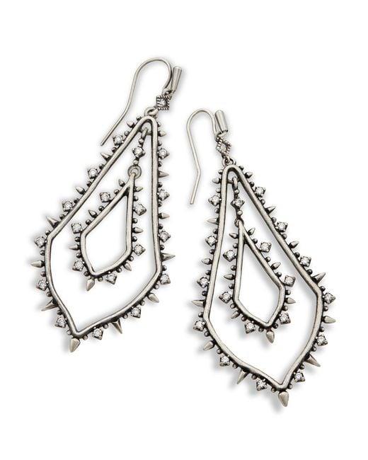 Kendra Scott - Metallic Alice Statement Earrings In Antique Silver - Lyst
