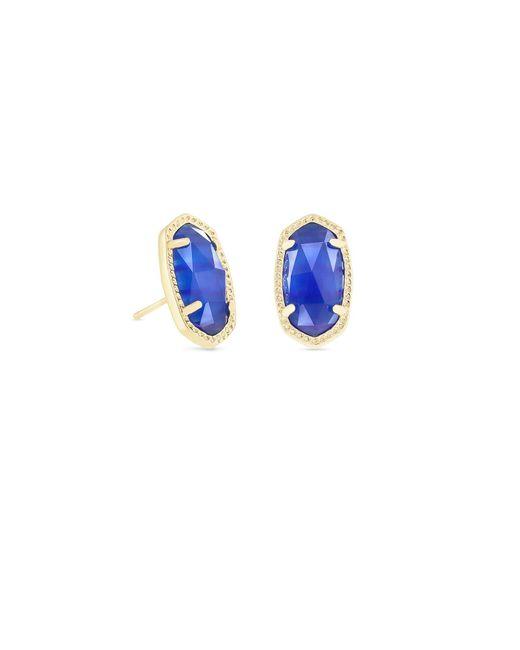Kendra Scott - Blue Ellie Gold Stud Earrings - Lyst