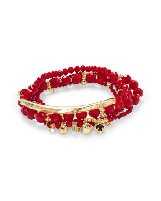 Kendra Scott - Red Supak Gold Beaded Bracelet Set - Lyst
