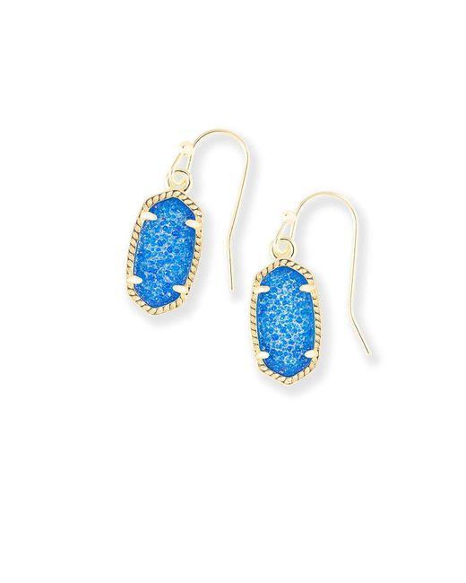 Kendra Scott - Blue Lee Gold Drop Earrings - Lyst