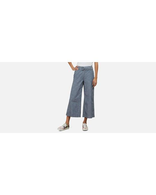 Kenneth Cole - Blue Wide Leg Cropped Pant - Lyst