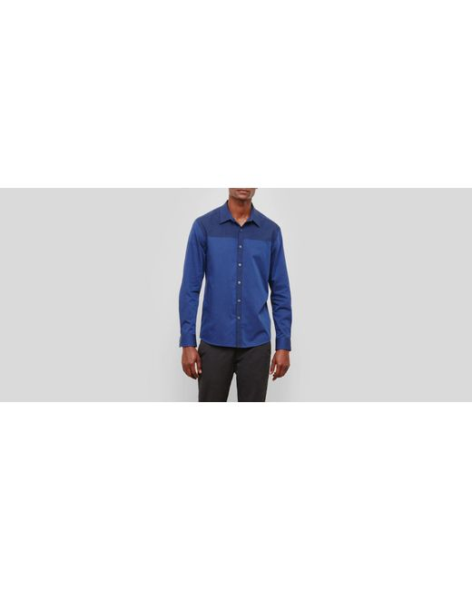 Kenneth Cole Reaction - Blue Two-tone Colorblock Long-sleeve Shirt for Men - Lyst