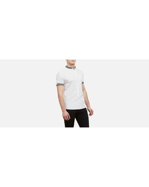 Kenneth Cole Reaction - White Short-sleeve Collarband Tab Shirt for Men - Lyst