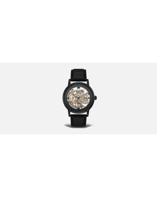 Kenneth Cole - Automatic Black Genuine Leather Round Watch for Men - Lyst