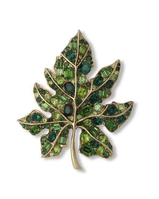 Kenneth Jay Lane   Multicolor Multi Green Leaf Brooch   Lyst