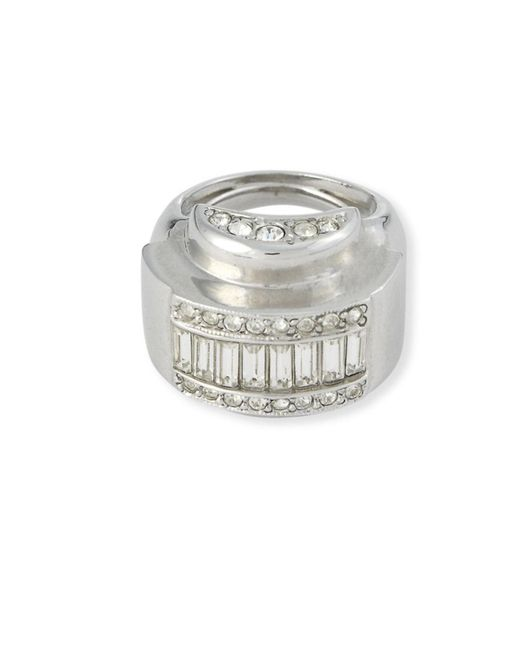 Kenneth Jay Lane | Metallic Crystal Domed Ring | Lyst