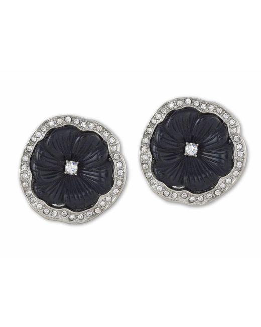 Kenneth Jay Lane   Metallic Black Flower Clip Earring   Lyst