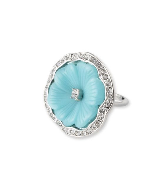 Kenneth Jay Lane | Blue Turquoise Flower Ring | Lyst
