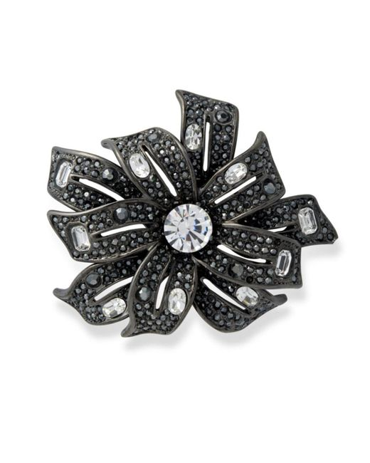 Kenneth Jay Lane | Metallic Hematite Flower Brooch | Lyst
