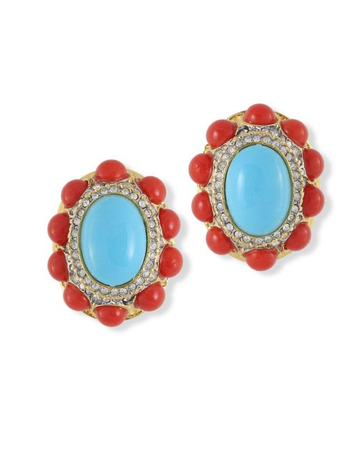 Kenneth Jay Lane | Multicolor Coraline And Turquoise Clip Earrring | Lyst