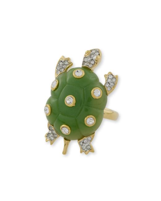 Kenneth Jay Lane | Green Jade Turtle Ring | Lyst