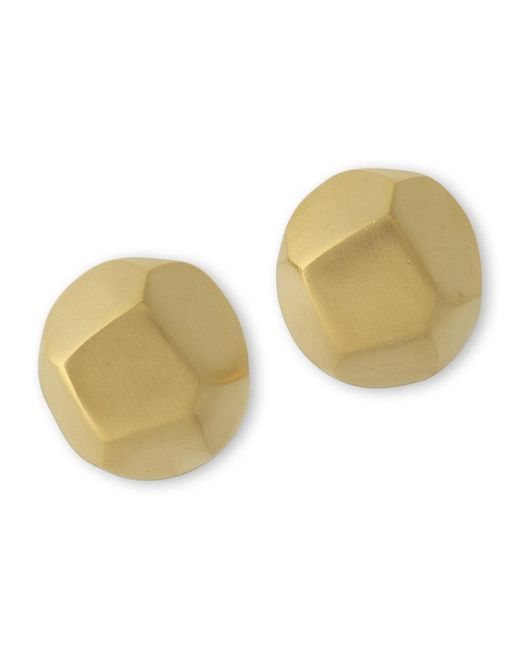 Kenneth Jay Lane | Metallic Geometric Button Clip Earring | Lyst