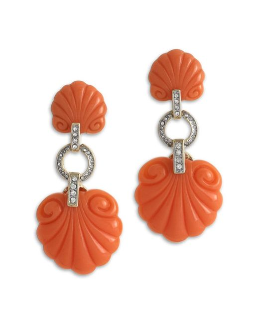 Kenneth Jay Lane | Pink Coral Scallop Shape Clip Earring | Lyst