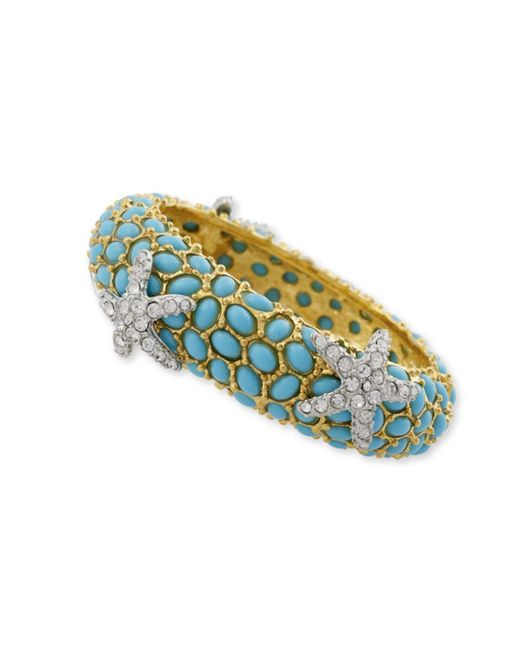 Kenneth Jay Lane | Blue Turquoise And Crystal Starfish Bracelet | Lyst