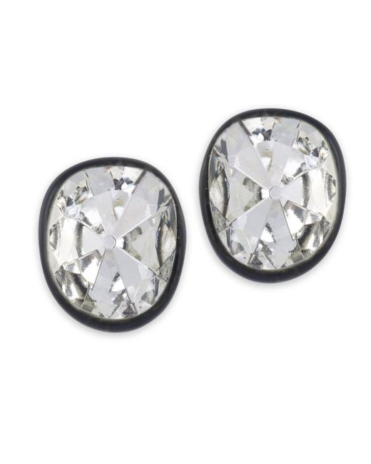 Kenneth Jay Lane | Metallic Black Plated Crystal Clip Earring | Lyst