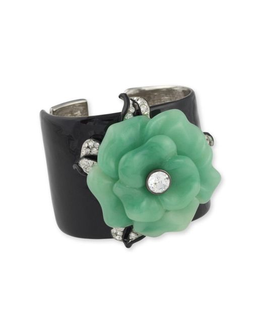 Kenneth Jay Lane | Green Jade Flower Cuff | Lyst