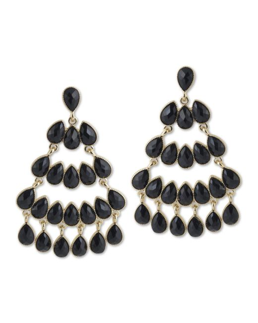 Kenneth Jay Lane | Black Chandelier Pierced Earring | Lyst