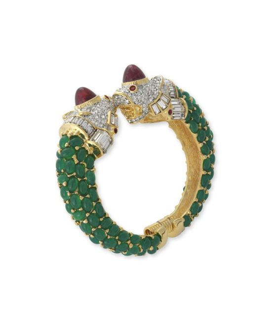 Kenneth Jay Lane | Green Emerald Lion Head Cuff | Lyst