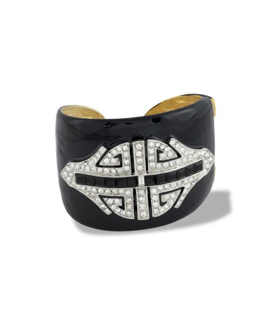 Kenneth Jay Lane | Black Jet Art Deco Cuff | Lyst