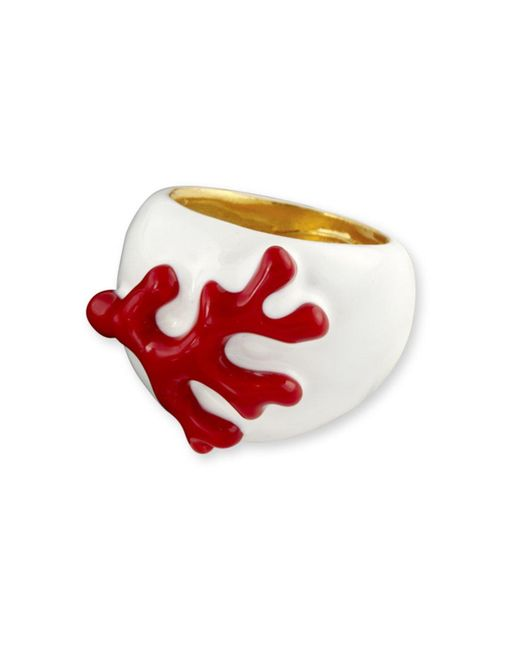 Kenneth Jay Lane | White And Red Enamel Branch Ring | Lyst