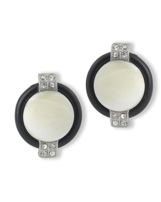 Kenneth Jay Lane | White Mother Of Pearl Art Deco Clip Earring | Lyst