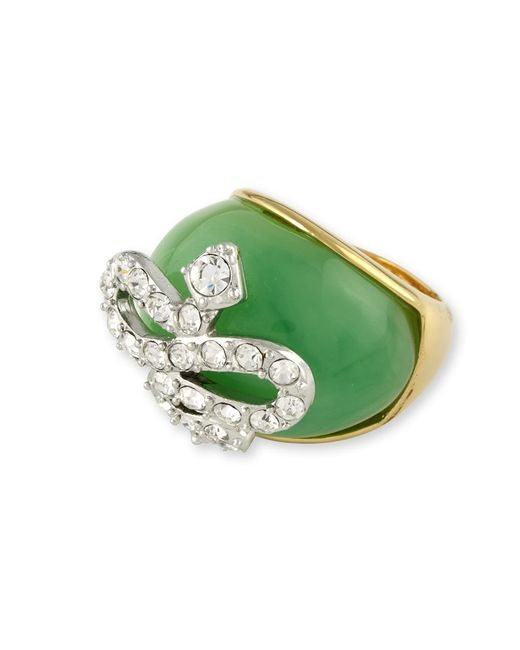 Kenneth Jay Lane | Green Jade Snake Ring | Lyst