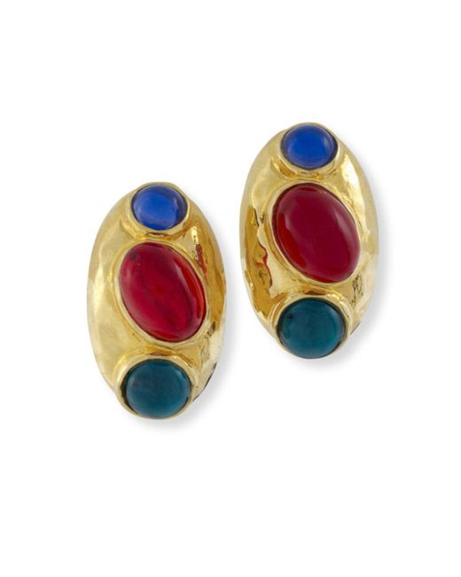 Kenneth Jay Lane | Multicolor Ruby And Emerald Clip Earring | Lyst