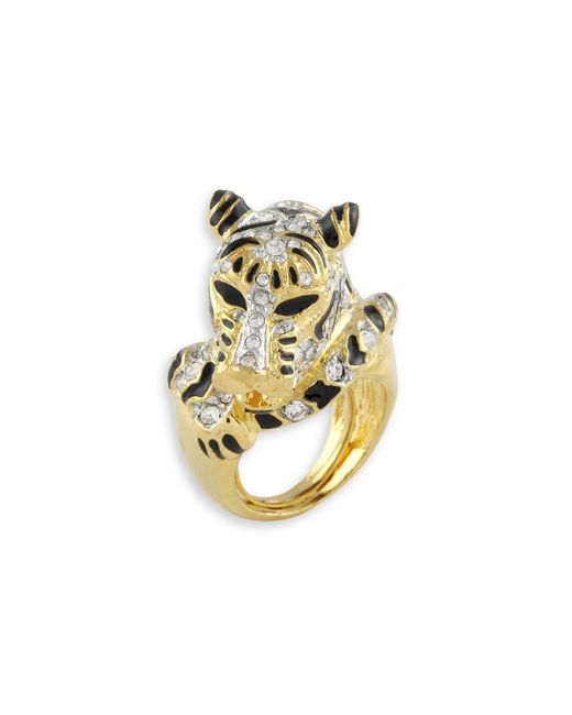 Kenneth Jay Lane | Metallic Black Tiger Ring | Lyst