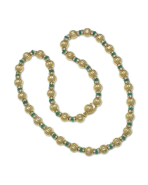Kenneth Jay Lane | Metallic Gold And Emerald Necklace | Lyst