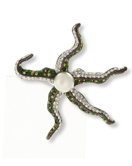 Kenneth Jay Lane | Multicolor Multi Green Pavé Starfish Brooch | Lyst
