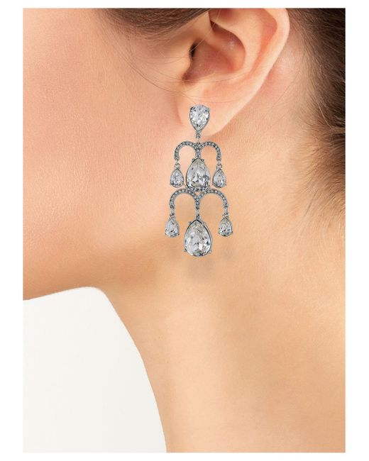 Kenneth Jay Lane | Metallic Crystal Waterfall Clip Earring | Lyst