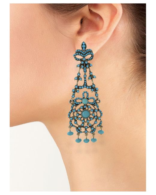 Kenneth Jay Lane | Blue Turquoise Drop Clip Earring | Lyst