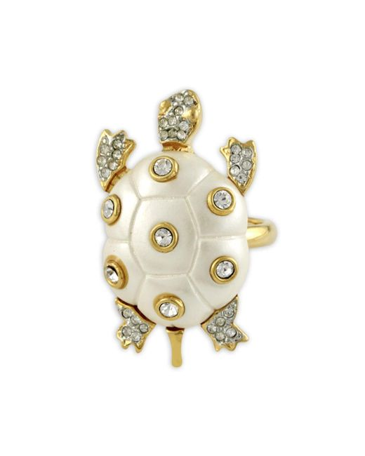 Kenneth Jay Lane | Metallic Pearl Turtle Ring | Lyst