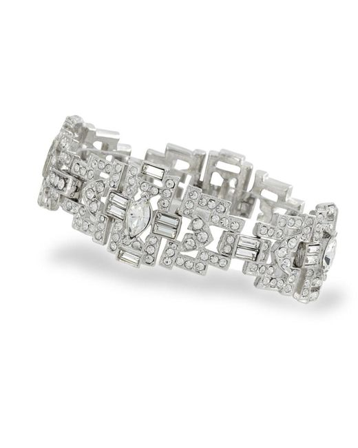 Kenneth Jay Lane | Metallic Crystal Art Deco Bracelet | Lyst