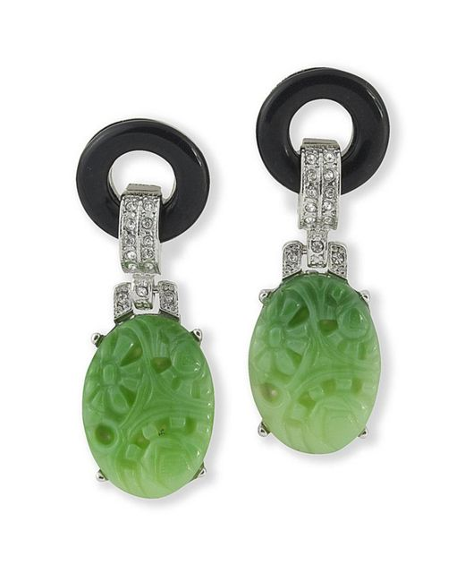 Kenneth Jay Lane | Green Black And Jade Art Deco Clip Earring | Lyst