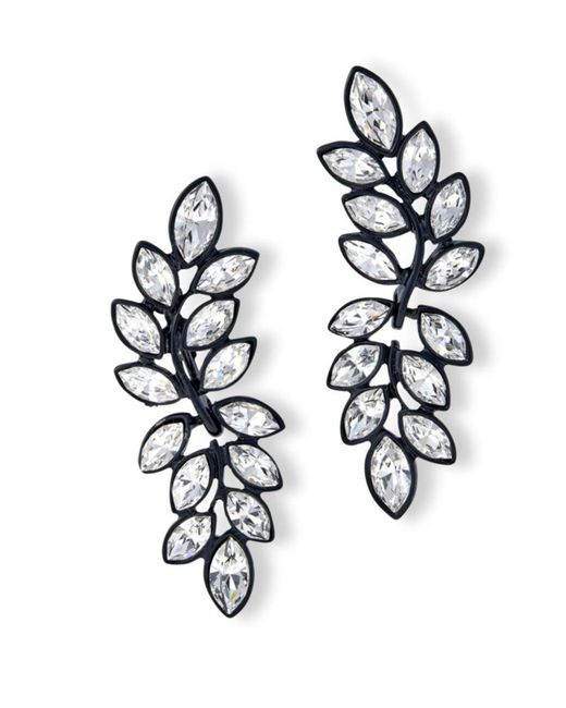 Kenneth Jay Lane | White Crystal Leaf Drop Clip Earring | Lyst
