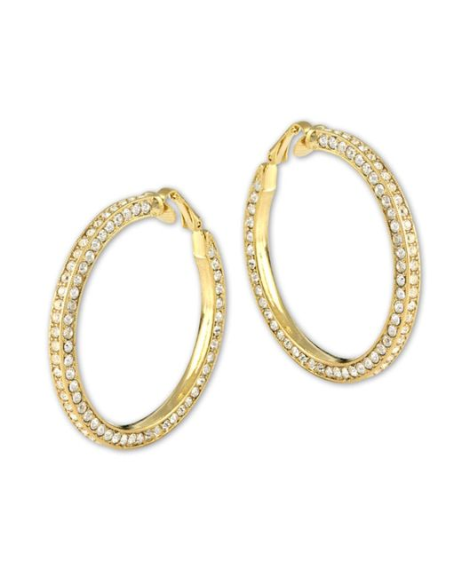 Kenneth Jay Lane | Metallic Gold And Crystal Pavé Hoop Clip Earring | Lyst