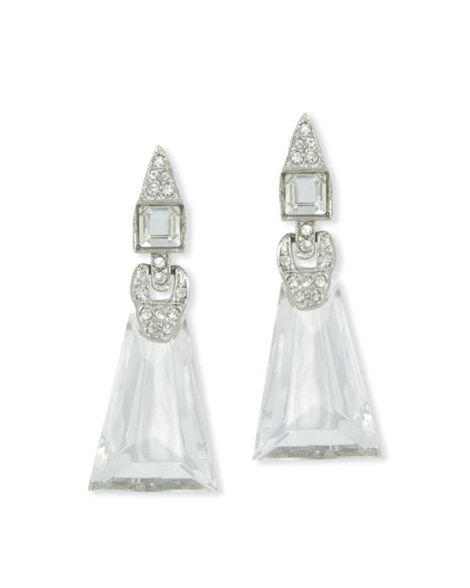 Kenneth Jay Lane | Metallic Crystal Art Deco Clip Earring | Lyst
