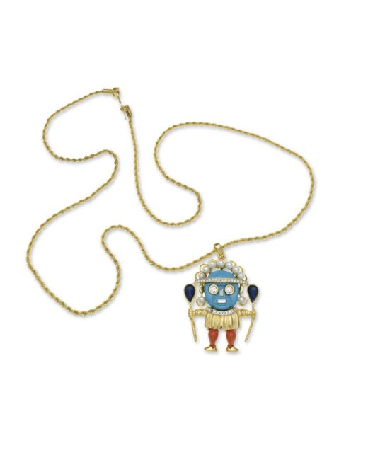 Kenneth Jay Lane | Blue Turquoise Medicine Man Pendant | Lyst