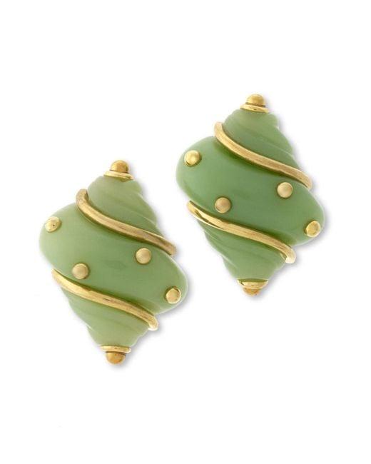 Kenneth Jay Lane   Green Jade Seashell Clip Earring   Lyst