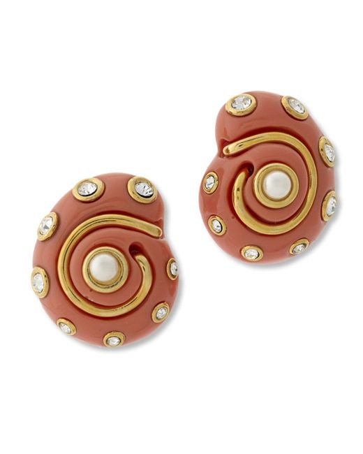 Kenneth Jay Lane | Pink Coral Snail Clip Earring | Lyst