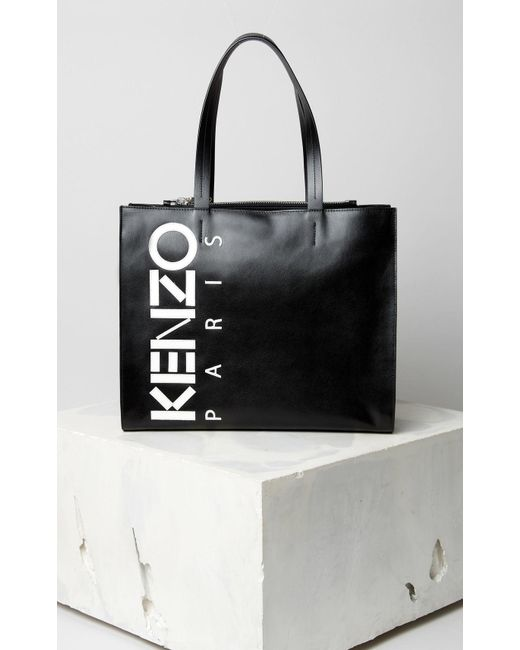 084c124f4bf KENZO Leather Logo Tote Bag Black in Black - Save 5% - Lyst