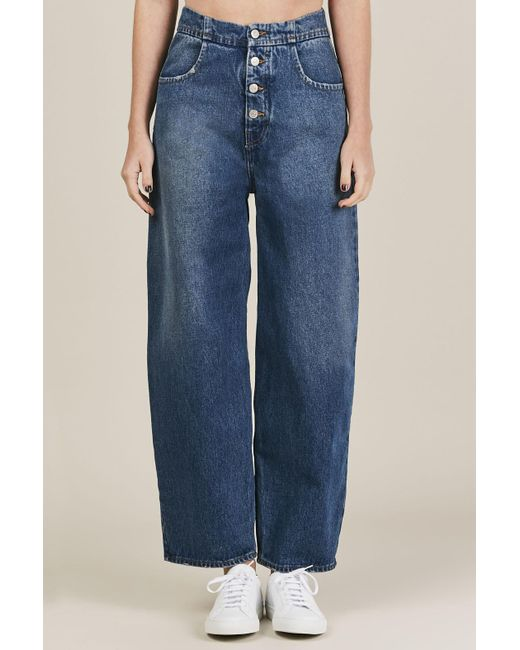 MM6 by Maison Martin Margiela | Blue Button Down Jeans | Lyst