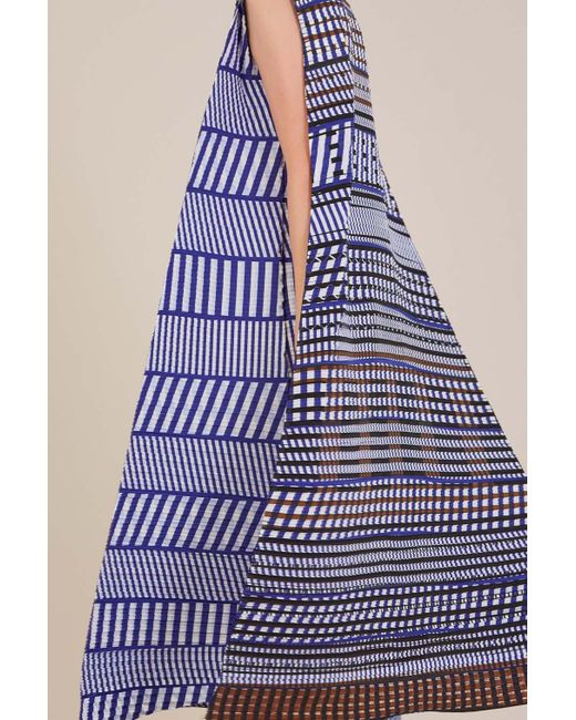 issey miyake printed dress with belt in blue lyst
