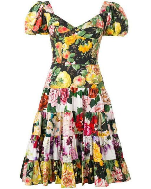 182339f2 Dolce & Gabbana - Pink Floral Print Flared Dress - Lyst ...