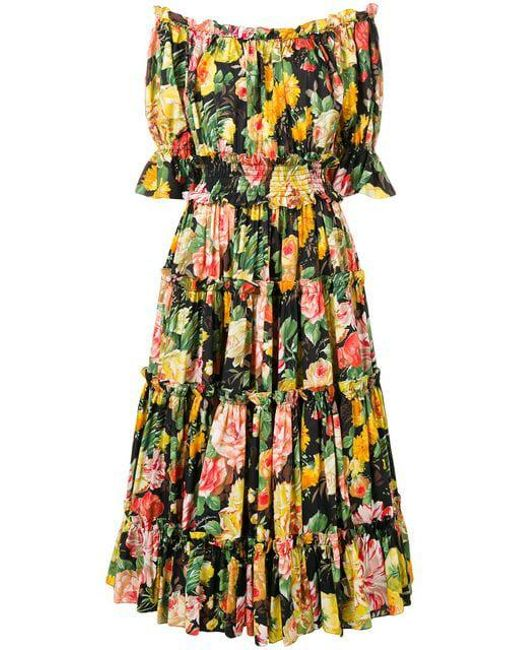 Dolce   Gabbana - Multicolor Floral Print Flared Dress - Lyst ... b45c8ccde