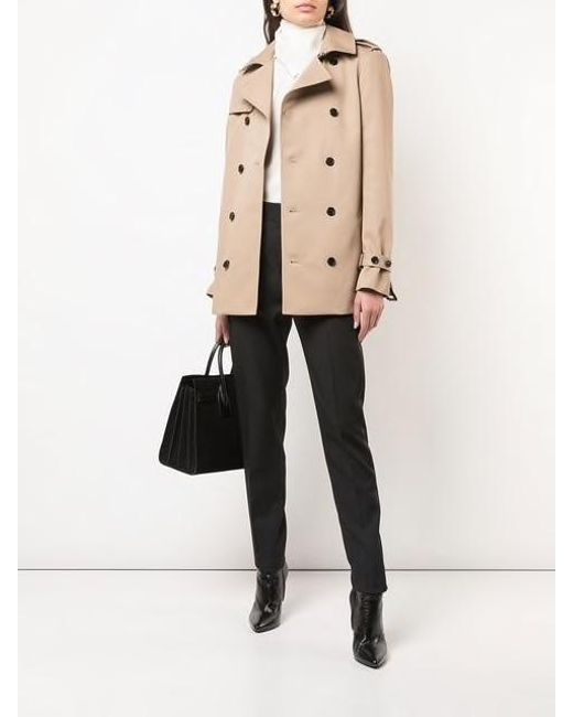 4b70a88be07 ... Saint Laurent - Natural Double Breasted Trench Coat - Lyst