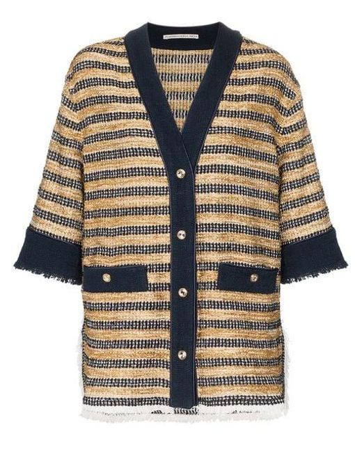 062f5c562 Alessandra Rich - White Oversized Striped Tweed Cardigan - Lyst ...