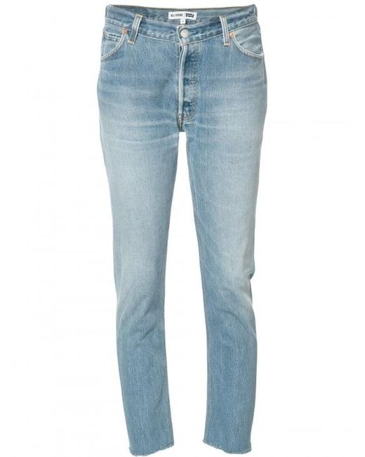 Re/done | Blue Relaxed Cropped Jeans | Lyst